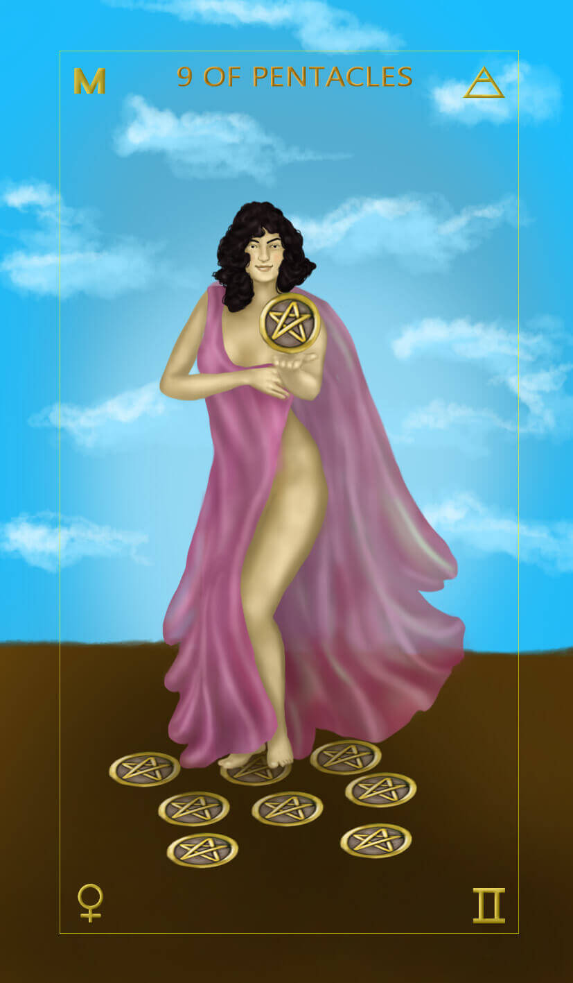 Learn tarot card meanings - nine of pentacles- free tarot card meanings